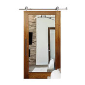 "Solid Tropical Oak Sliding Barn Door, 40""x84"", Double-Sided Mirror, Right"