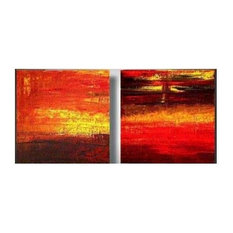 Ash, Smoke, and Fire Canvas Wall Art,Red
