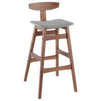 Chalet Barstool, Walnut Wood With Gray Fabric