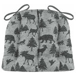 Barnett Home Decor - Woodlands Waypoint Smoke Dining Chair Pads - Woodlands Waypoint Smoke dining chair pads feature dark grey chenille bears, moose, deer, geese, foxes, bighorns and pine trees on a lighter gray background -perfect for your log cabin or any room with a rustic decor!