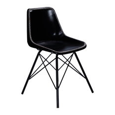Inland Black Leather Side Chair