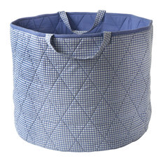 Blue Gingham Toy Basket