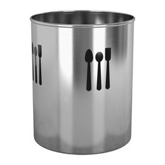 Cutout Utensil Holder With 3 Spoons, Stainless Steel, 4 Quarts