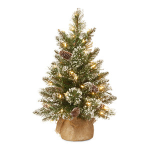 2 feet Glittery Bristle Pine Tree with Battery Operated Warm White LED Lights