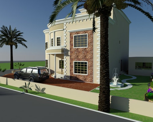Beautiful Villa Design Duplex 3D Front elevation Arabian Style in Oman