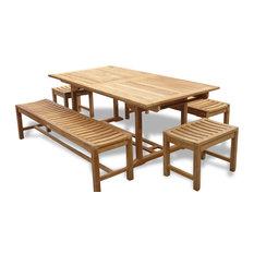 """118"""" Ext Table/6 Benches Seats14, Grade A Teak"""
