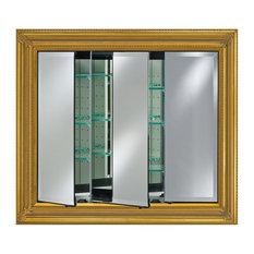Vanerbilt Triple Door Framed Medicine Cabinet, Antique Gold, Medium, Baroque