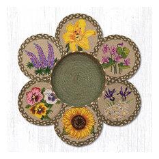 "Earth Rugs TNB-399 Flowers Trivets in a Basket 10"" x 10"""