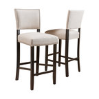 William Contemporary Linen Barstools, Set of 2