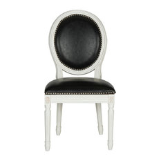 Holloway French Brasserie Oval Side Chairs, Set of 2, Black, Leather