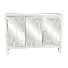 Modern 34-inchx47 White Wood Iron Stainless Steel And Mirror Three-Door Cabinet