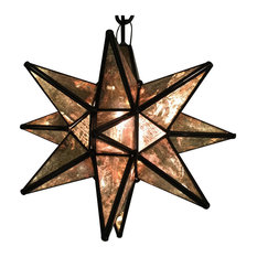 "Moravian Star Light, Antique Glass With Bronze Trim, 19"" Diameter, With Mount Ki"