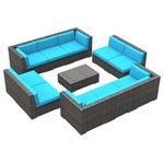 Urban Furnishing - Bermuda Outdoor Patio Furniture Sofa Sectional, 11-Piece Set, Sea Blue - - Designer Gray Wicker Pattern