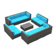 Bermuda Outdoor Patio Furniture Sofa Sectional, 11-Piece Set, Sea Blue