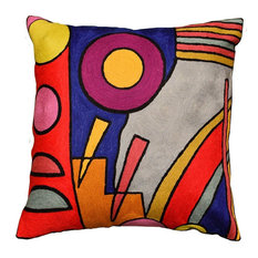 Kandinsky Decorative Pillow Cover Composition VI Hand Embroidered Wool 18x18""