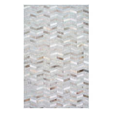 Hand Made Geometric Cowhide Patchwork Rug, Silver, 9'x12'