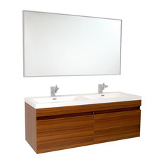 Fresca Largo Teak Vanity w/ Wavy Double Sinks