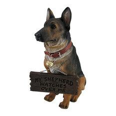 I Don't Dial 911 German Shepherd Guard Dog Warning Statue