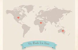 Roots World Map Customized Print, Gray by My Roots