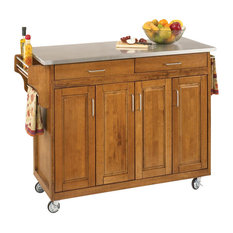 home styles cottage oak createacart stainless top kitchen islands