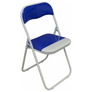 Foldable Chair, Tubular Steel Frame With Padded Seat, White Finish, Blue