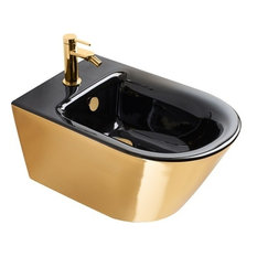 Gold and Silver Newflush Wall-Hung Bidet, Gold/Black Gloss
