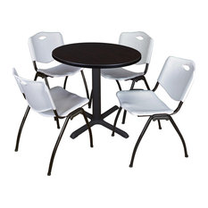 Cain 30-inch Round Breakroom Table- Mocha Walnut & 4 'M' Stack Chairs- Grey