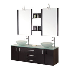 "Portland 61"" Double Sink, Wall Mount Vanity Set, Espresso"
