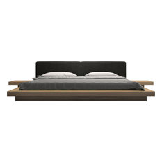 Worth King Bed II, Soft Carbon Fabric and Latte Walnut