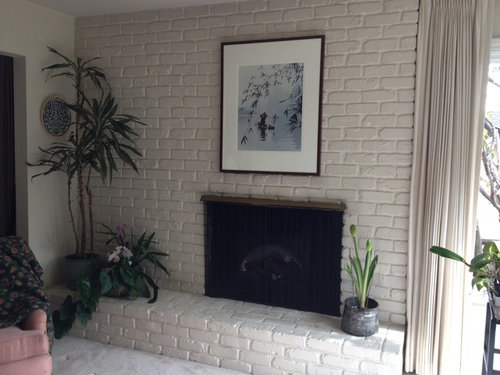 Ugly White Brick Fireplace Raised Hearth, Removing Raised Brick Fireplace Hearth