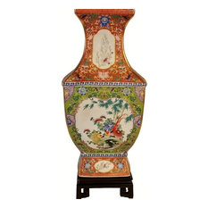 Chinese Floral Square Porcelain Vase Gold Line With Lime Green and Coral
