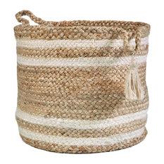 "Montego Striped Natural Jute Decorative Storage Basket, 19"""