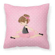 Ballerina Brunette Jete Fabric Decorative Pillow