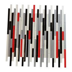 "12""x13"" Autostrata Red White Black Gray Glass Mosaic Bar Backsplash Tile"