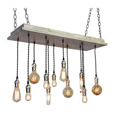 Urban Industrial Chandelier, Slate, Nickel Socket, Suspended