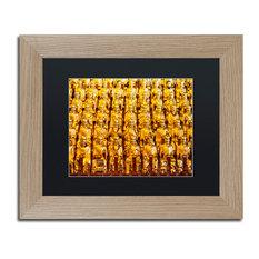 "Philippe Hugonnard 'Golden Buddhas' Art, Birch Frame, Black Matte, 14""x11"""