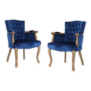 GDF Studio Trista Traditional New Velvet Dining Chairs, Navy Blue, Set of 2