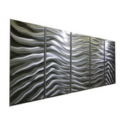 "Contemporary Metal Wall Art Silver Decor by Jon Allen, Silver Euphoria, 64""x24""x"