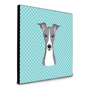 Checkerboard Blue Italian Grayhound Artwork Panel Wall Decor, Multicolor
