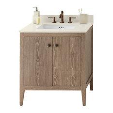"Ronbow Sophie Solid Wood 30"" Vanity Cabinet Base, Aged Oak"