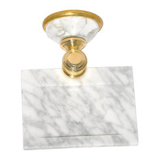 Soap Dish With Arabescato Marble Accents, Matt Gold