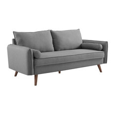Modway Revive Upholstered Fabric Sofa, Light Gray Finish