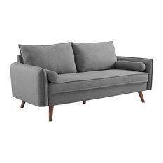 Modway Revive Upholstered Fabric Sofa, Light Gray Finish