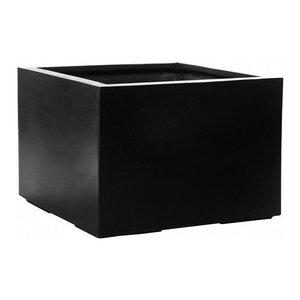 Square Fiberstone Black Planter, 53x70x70 CM