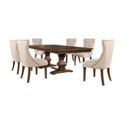 7-piece Walnut Extension Dining Table Set