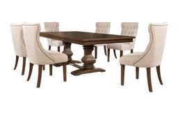 7-piece Walnut Extension Dining Table Set