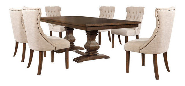 7-piece Walnut Extension Dining Table Set  sc 1 st  Houzz & 7-piece Walnut Extension Dining Table Set - Transitional - Dining ...