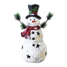 Christmas Snowman Statuary With Black Stars, 22""