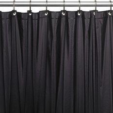 Mildew Resistant 10 GA Vinyl Shower Curtain Liner W/Metal Grommets In Black