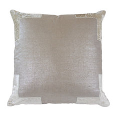 Tracy Metallic Linen Pillow With Velvet Applique, Blue, Birch